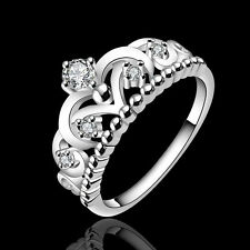 Women Silver Plated Ring Crown Finger Band Crystal Jewelry Size 7 Cool Gift h