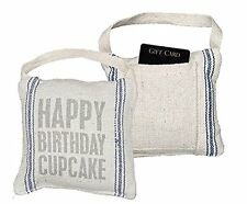 Happy Birthday Cupcake Mini Pillow Gift Card Holder Vintage Country Primitive