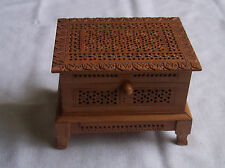 "Lovely Lattice wooden box with Hinged lid and four feet Height 3.5""x 4.75""x 3.5"""
