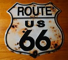 RUSTIC BULLET HOLE ROUTE 66 TIN SIGN Retro Highway Home Gas Station Decor NEW