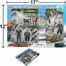 POLICE FIGURE FORCE ARTICULATED FIGURINE MACHINE GUN RIFLE TOY PLAYSET MILITARY