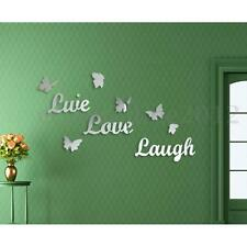 LIVE LOVE LAUGH Butterfly DIY Mirror Wall Sticker Silver Acrylic Art Vinyl Decal