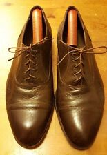 Vtg, The Florsheim Shoe, Dk Brown, Leather/Deer Skin Cap toe Oxfords (Sz 8.5EEE)