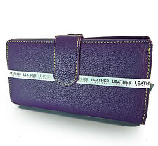 New Mundi® Leather Bi-Fold w/ Kiss-lock Accordion Coin Compartment -Amethyst