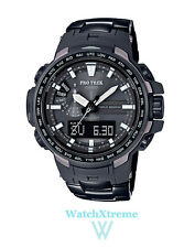 CASIO PRO TREK Men's PRW-6100YT-1 Black Titanium Watch Solar Powered From Japan