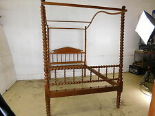 1870s Amazing Antique Jenny Lind Turned Tall Posters Bed Post w Canopy Bed