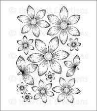 Heartfelt Creations  SunKissed Fleur Cling Cling Rubber Stamp  HCPC 3533