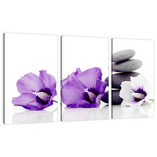 Triptych Triple 3 Canvas Purple Wall Art Floral Pictures Prints 3071