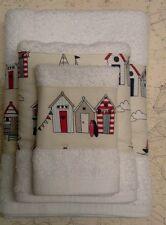 CABINA DA SPIAGGIA Asciugamano Set decorata a mano, NAUTICO E BIANCO