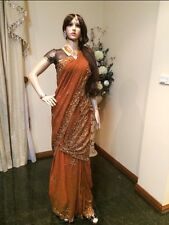 Designer Saree Indian Bollywood Chiffon Party Sari Brown Bronze Dress Material
