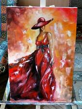 painting on canvas, 100% hand painted oil on canvas. Girl in red