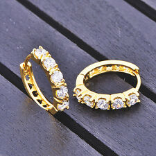 Womens cute Hoop earrings vintage Yellow gold filled round crystal baby earings