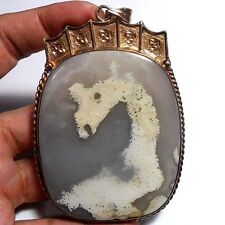 "552ct GIANT PICTURE AGATE ""DRAGON"" Silver Pendant ~Natural 3D Effect 1-of-a-kind"