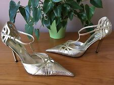 Ladies Dune Ella gold leather t-bar strappy pointed court shoes UK 8 EU 41