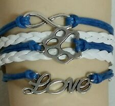"PAW PRINT LEATHER BRACELET - BLUE & WHITE - 6 1/2""-8 1/2""-DOG-ANIMAL-FAMILY-#185"