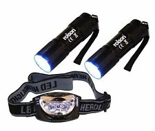Rolson 61762 9-LED Torch and 3-LED Head Light Set 3 Pieces