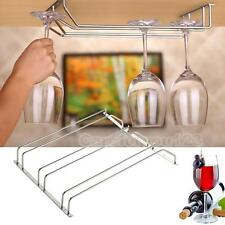 3 Row Home Bar Pub Under Cabinet Wine Glass Stemware Rack Holder Stainless Steel