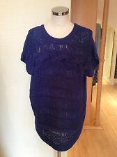 Oui Tunic Sweater Size10 Bnwt Blue Textured Knit RRP £105 Now £36