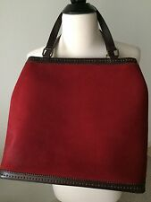 SAKS FIFTH AVENUE Burgundy Suede and Brown Leather Top Handle Tote Bag EUC