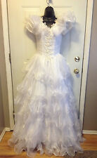 WEDDING GOWN GORGEOUS WHITE ORGANZA DESIGNER SAMPLE BY MARY'S BRIDAL  SIZE 6