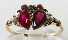 STUNNING 9K GOLD VICTORIAN INS RUBY & PEARL STAR SIGN CANCER CRAB RING