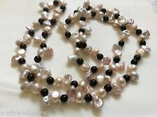 "Cream pink color Keishi Pearl black onyx beads necklace 32"" endless"