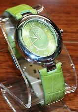 """B"" (BTV065) Green Faux Croco Leather Stainless Steel Quartz Ladies Wrist Watch"