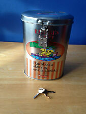Cartoon Metal Money Box  With Lock And 2 Keys For Childrens Kids