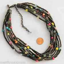 Chico's Signed Necklace Deep Black Multi Strand Bright Accent Beads Blue Green