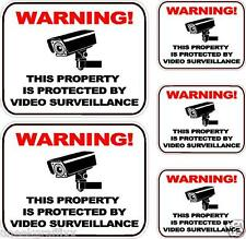 "Lot of 5 Security Surveillance Camera Warning Vinyl Decal Stickers 5"" 3"" Size"