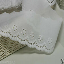 """5Yds  Broderie Anglaise Eyelet lace trim 2.8"""" white YH737 laceking2013"""
