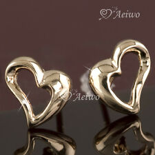 9K GF SOLID ROSE GOLD FILLED HEART STUD EARRINGS TINY CUTE