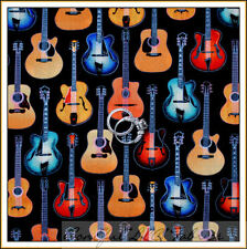 BonEful Fabric FQ Cotton Quilt VTG Music GUITAR Girl Electric B&W Rock Jazz Band
