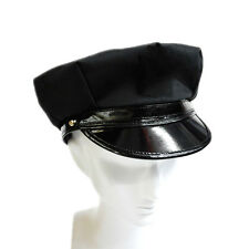 Black Octagon Hat Captain Skipper Police Sheriff Hat Cap Party Costume Cosplay
