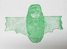 Alien Cocoon Winged gothic being rubber stamp Spooky Halloween Anima unusual