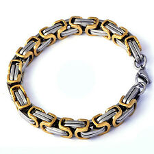Genuine Men's Yellow/white Gold Plated Link Chain Bracelet Free Shipping