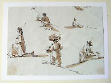 GERMANY FIGURE STUDIES ON THE WALCHENSEE SEPIA OBERNACH C1810