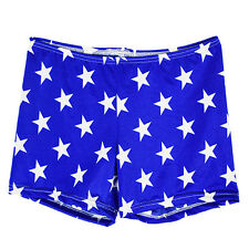 """Patriotic"" shorts  size MED child, spandex blue and white stars print fabric"