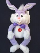 """PLUSH BUNNY RABBIT 8"""" Purple Electronic Says 4 Phrases When Squeezed EXCELLENT!"""