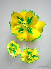 LARGE WAVY BRIGHT NEON LEMON YELLOW & GREEN VINTAGE FLOWER PIN MATCHING EARRINGS