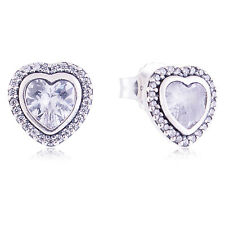 Genuine Pandora Silver Heart Stud Earring 290568CZ Authentic RRP £65