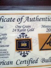 ACB 24K GOLD 1.GRAIN SOLID BULLION MINTED BAR 99.99 FINE W/. CERTIFICATE!!