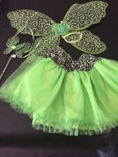 Dress Up Butterfly Fairy Outfit TuTu Wand &Wings Green Animal Print Child One Sz
