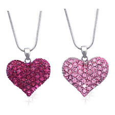 Small Hot Pink Heart Necklace Set Valentine's Day Wife Daughter Jewelry GIFT BOX