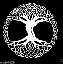 Celtic Tree of Life White Vinyl Window Sticker Decal Car Wall Irish