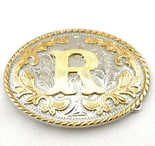 "Initial ""R"" Letter Oval Gold & Silver Rodeo Western Cowboy Metal Belt Buckle"