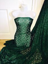 "1 MTR (NEW) FOREST GREEN BRIDAL LACE FABRIC...60"" WIDE SPECIAL OFFER £5.99"