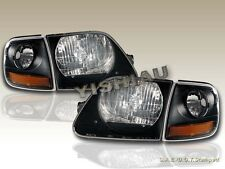97 98 99 00 01 02 03 FORD F 150 F-150 BLACK HEADLIGHTS + CORNER LIGHTS BLACK