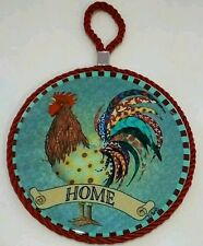 RARE COLORFUL COUNTRY ROOSTER HOME RED WALL HANGING ART DECOR CORK ROUND PLAQUE