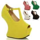 WOMENS LADIES HIGH HEEL LESS CUT OUT WEDGES PLATFORMS SHOES PEEPTOE SIZE